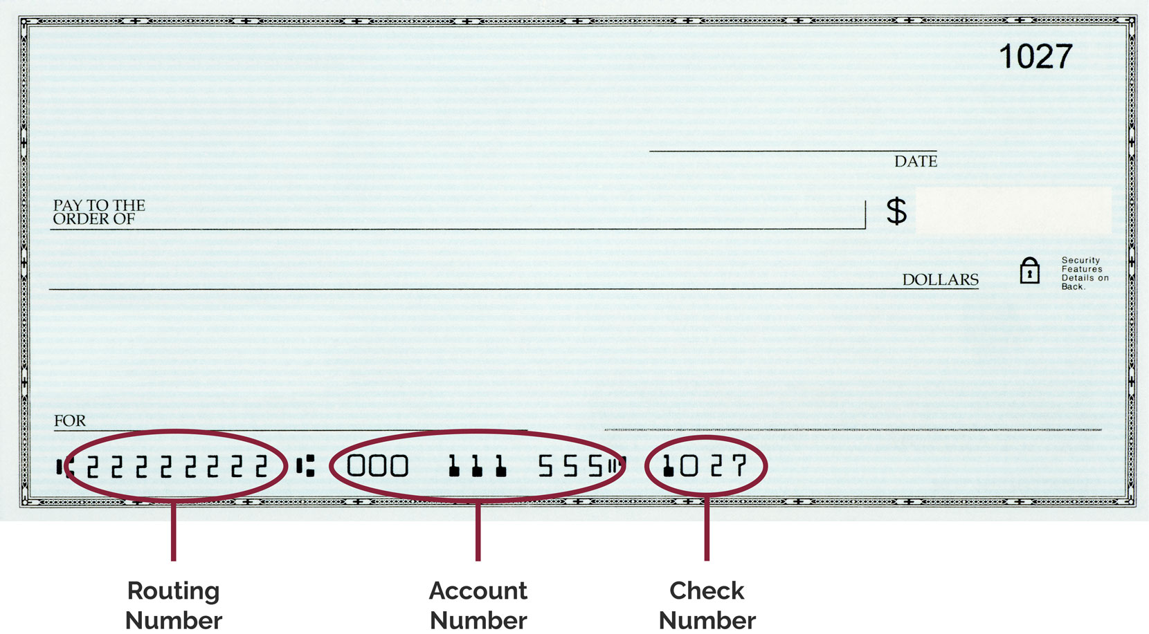 Check with routing number highlighted in lower left